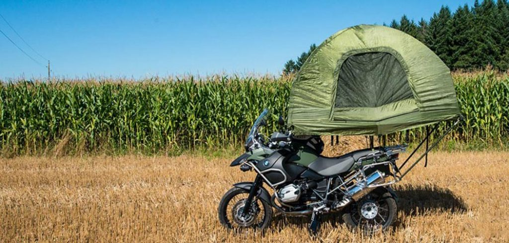 Rooftop Tent on a motorbike, are you kidding me_