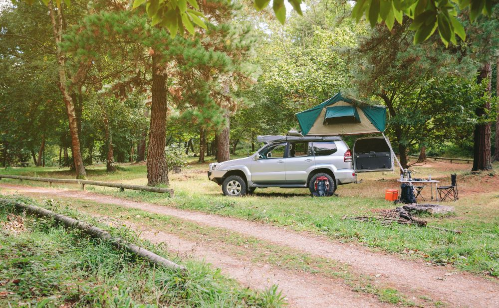 camping with rooftop tent